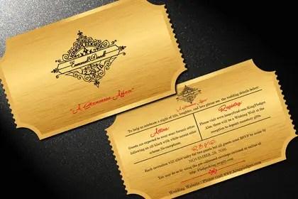 Golden Ticket Wedding Invitation Freelancer