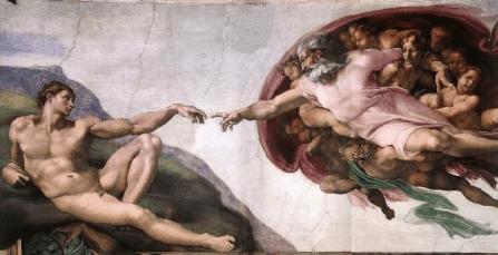 Painting of God and Adam in the Sistene Chapel