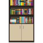 Library Book Shelf Bookcase With Different Books
