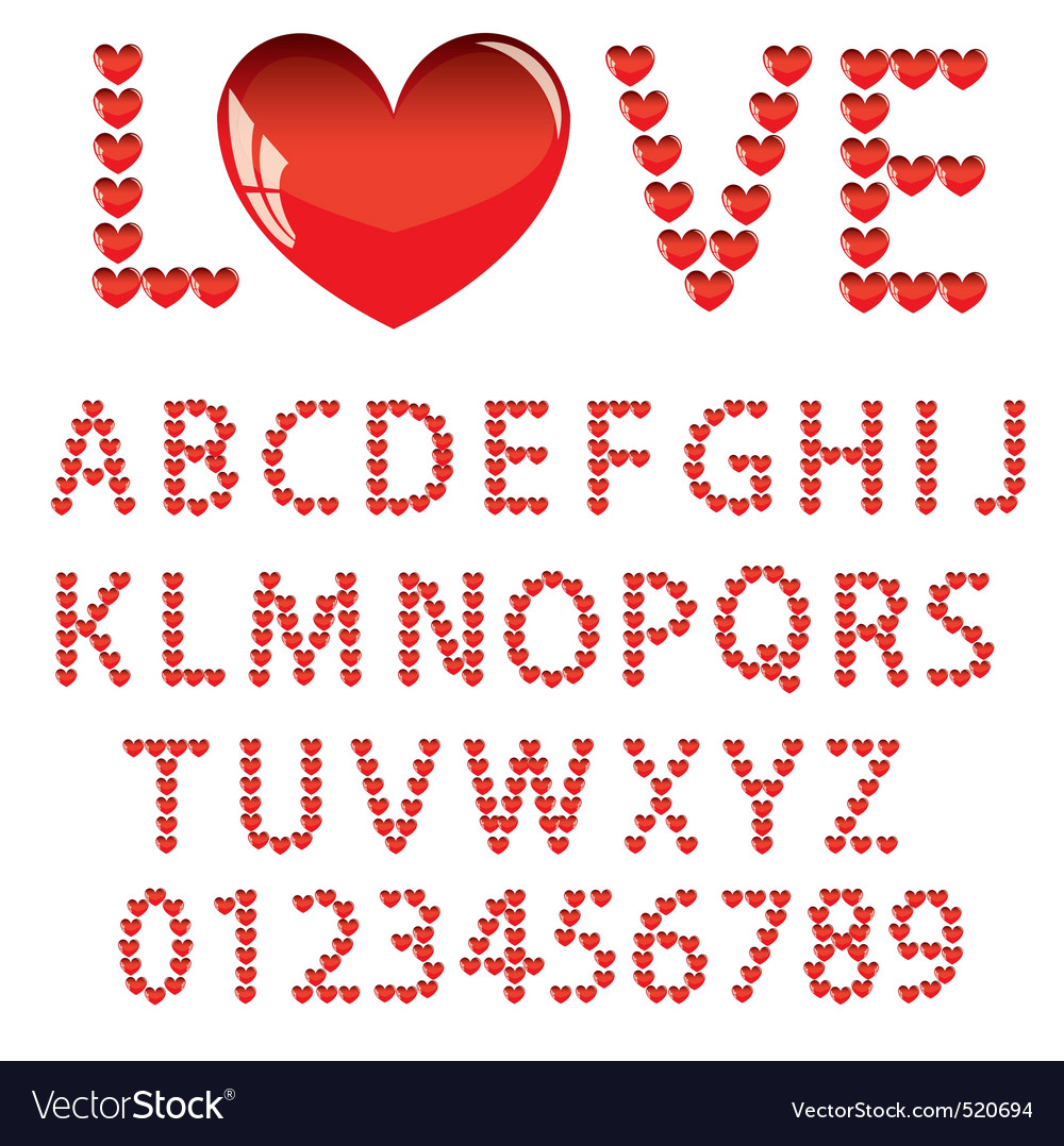 Download Love the alphabet with a heart letters and numbers