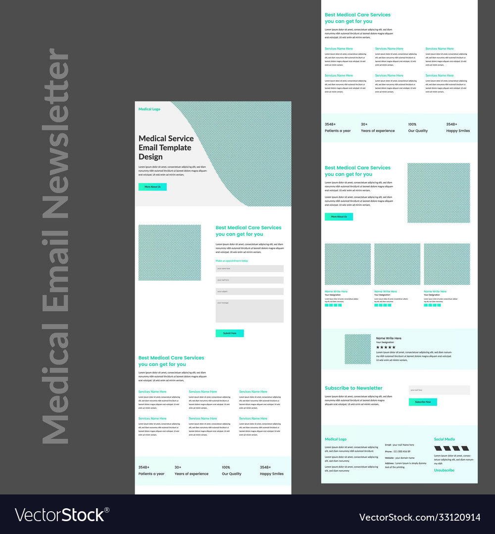 There's no one template to follow to verify the quality of your promotional email, but there are many elements that make your offer complete. Medical Services Promotional Email Template Vector Image