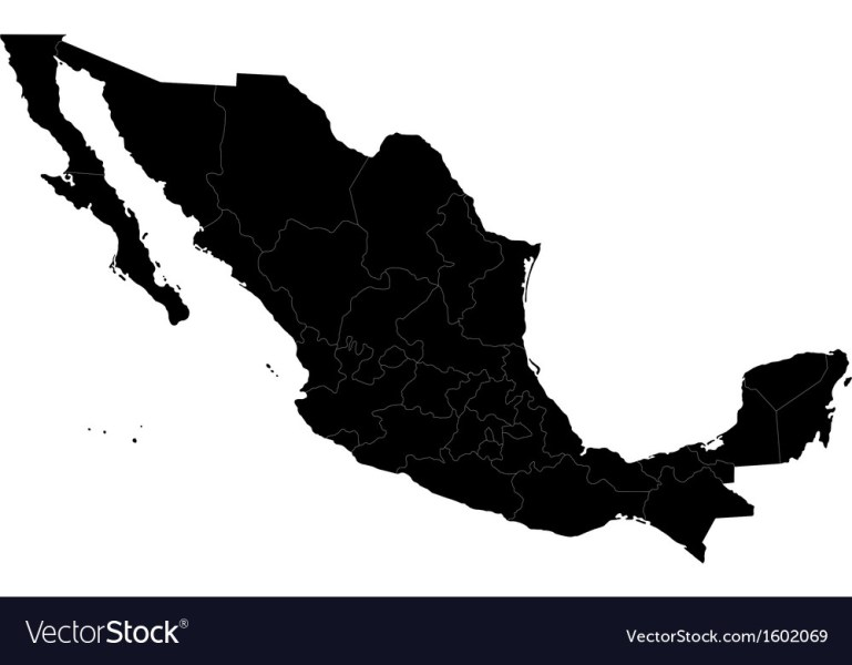 Black Mexico map Royalty Free Vector Image   VectorStock Black Mexico map vector image