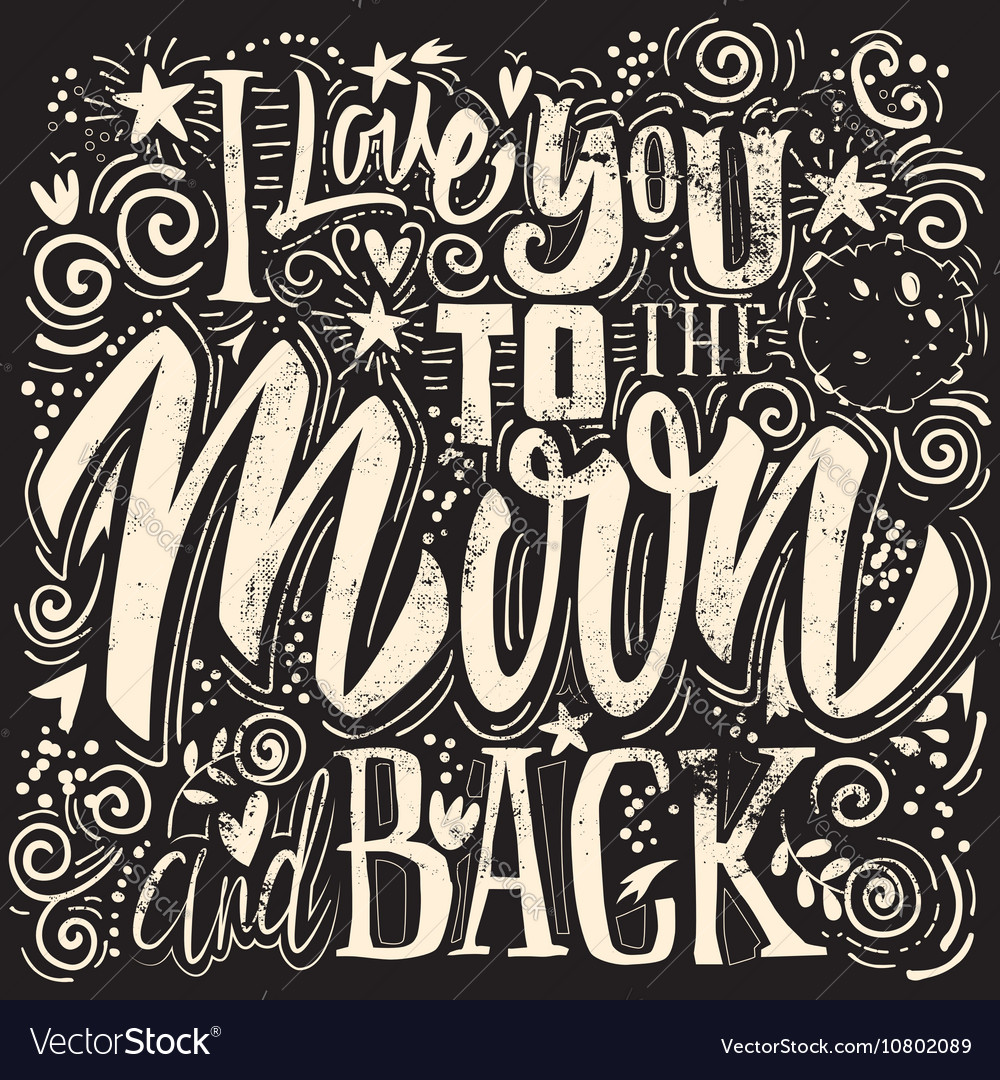 Download T-shirt printing i love you to the moon and back Vector Image