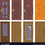 Classic Interior And Front Wooden Doors Royalty Free Vector