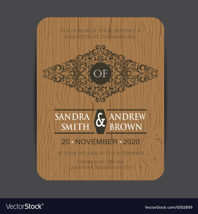 Wooden Wedding Invite Card Royalty Free