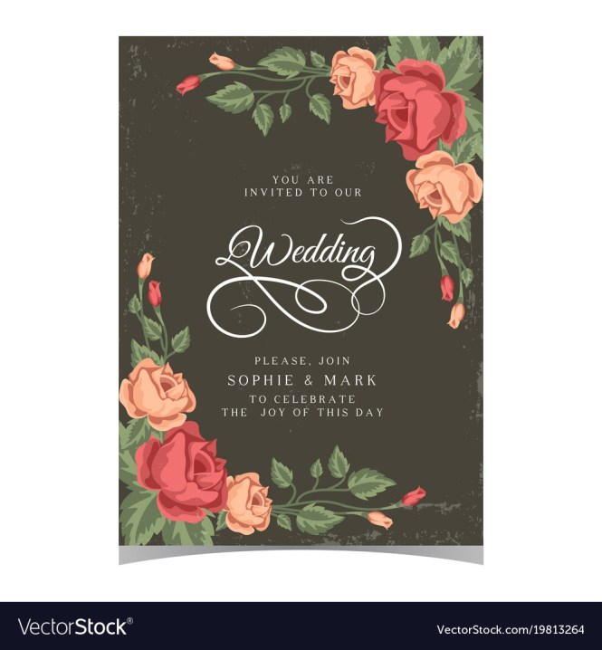 Wedding Invitation Pink Roses Dark Green Backgroun