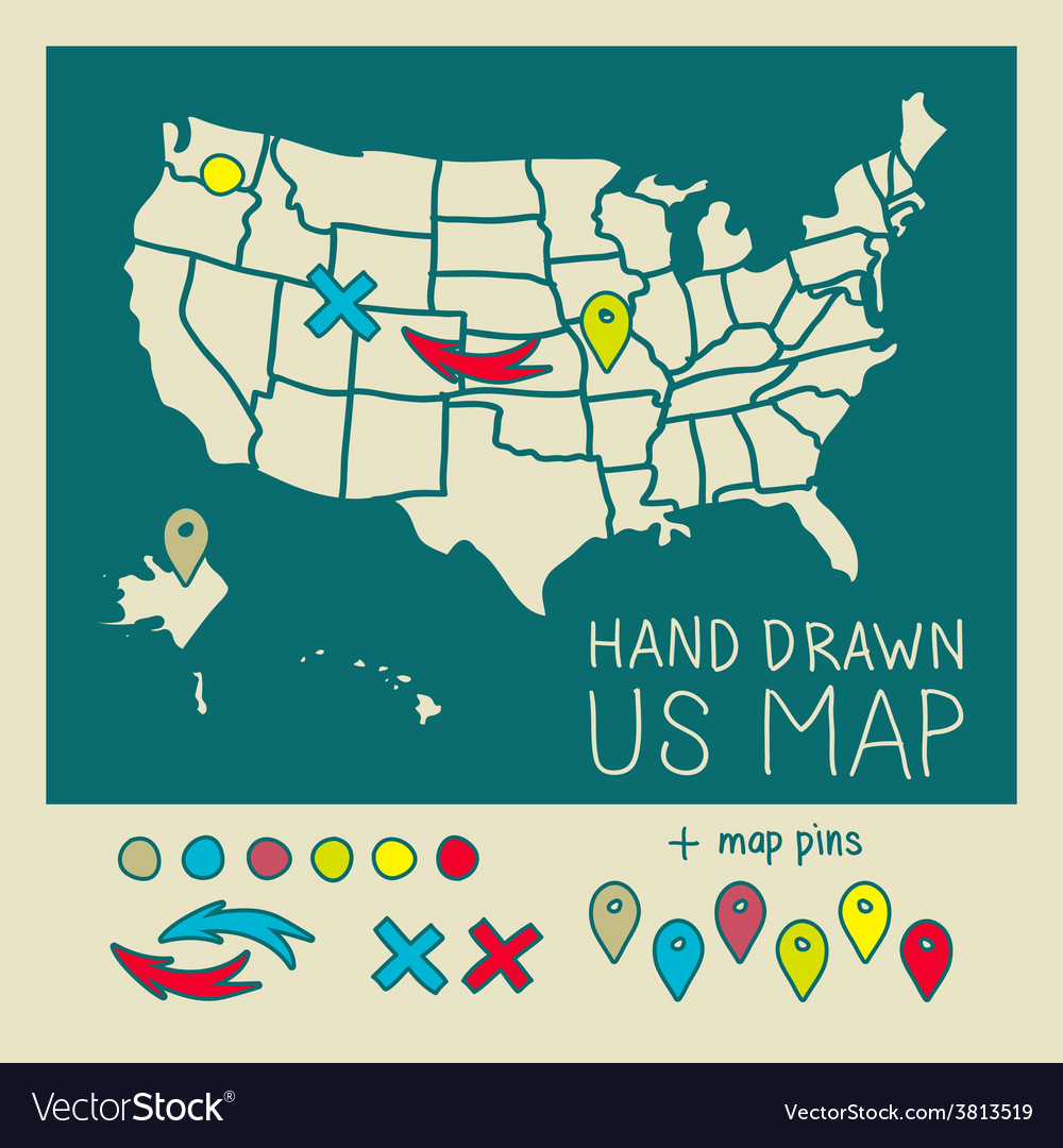 hand drawn us map travel poster royalty free vector image