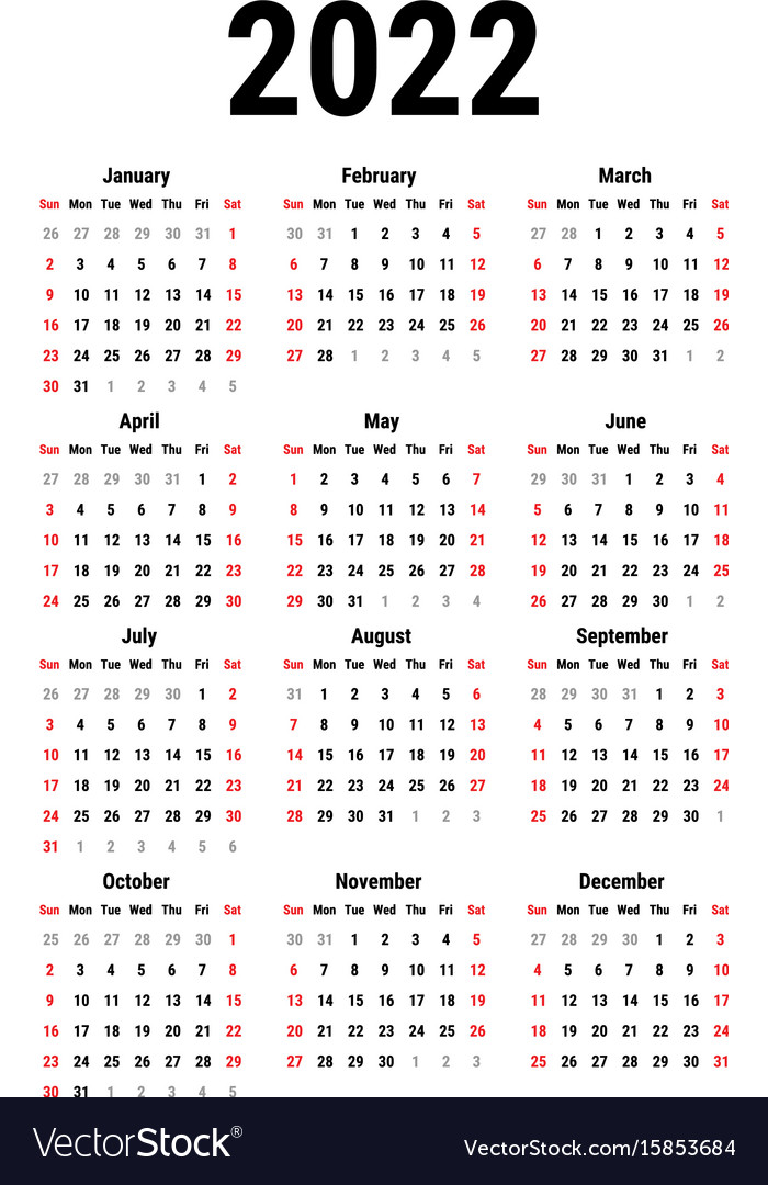 The calendar of events lists these seminars and programs. Calendar for 2022 Royalty Free Vector Image - VectorStock