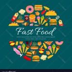 Fast Food Restaurant Dishes Round Badge Design Vector Image
