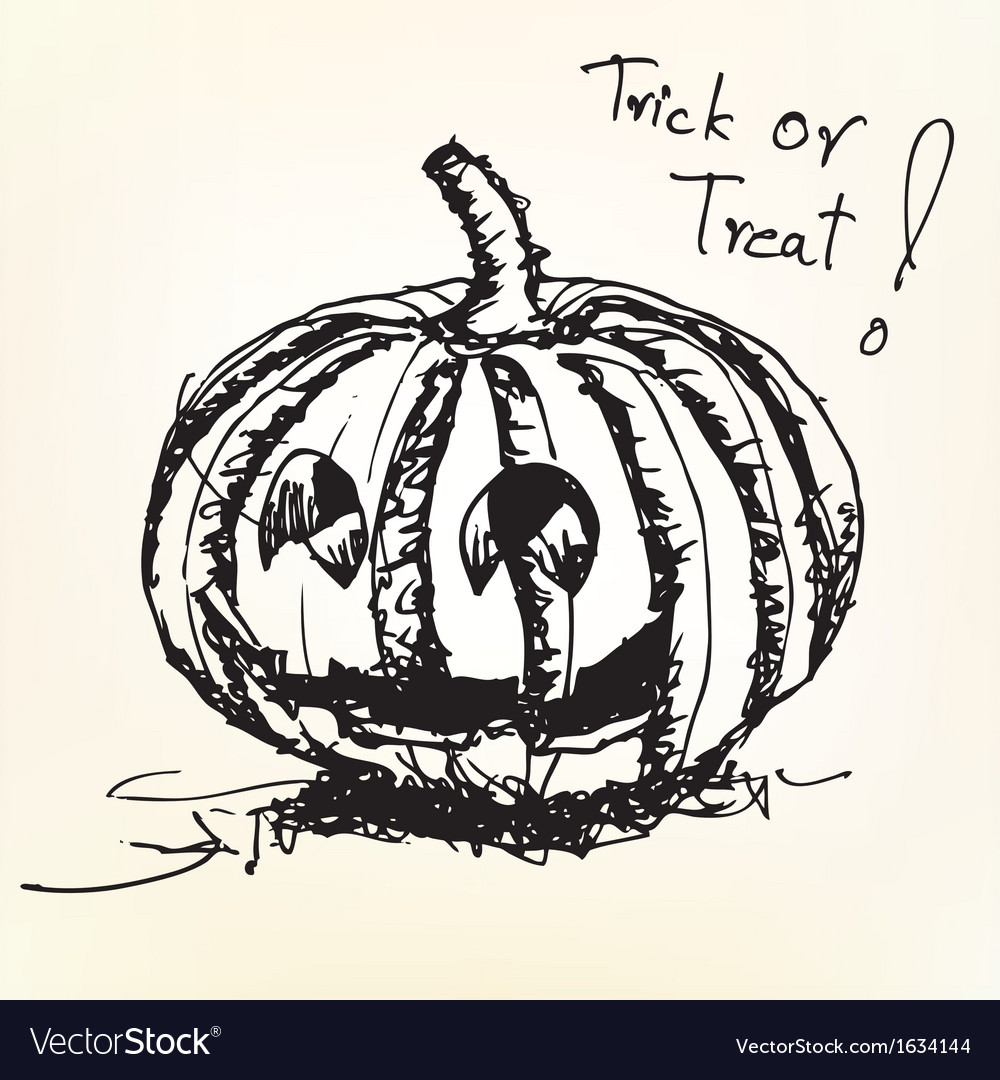 How to draw a pumpkin halloween | pumpkin drawing simple step by steplearn how to draw a pumpkin in this really easy drawing tutorial. Halloween Pumpkin Sketch Royalty Free Vector Image