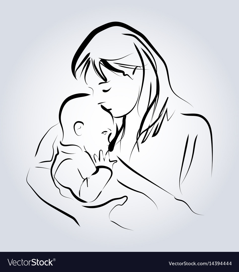 Line Sketch Of A Mother With A Child Royalty Free Vector