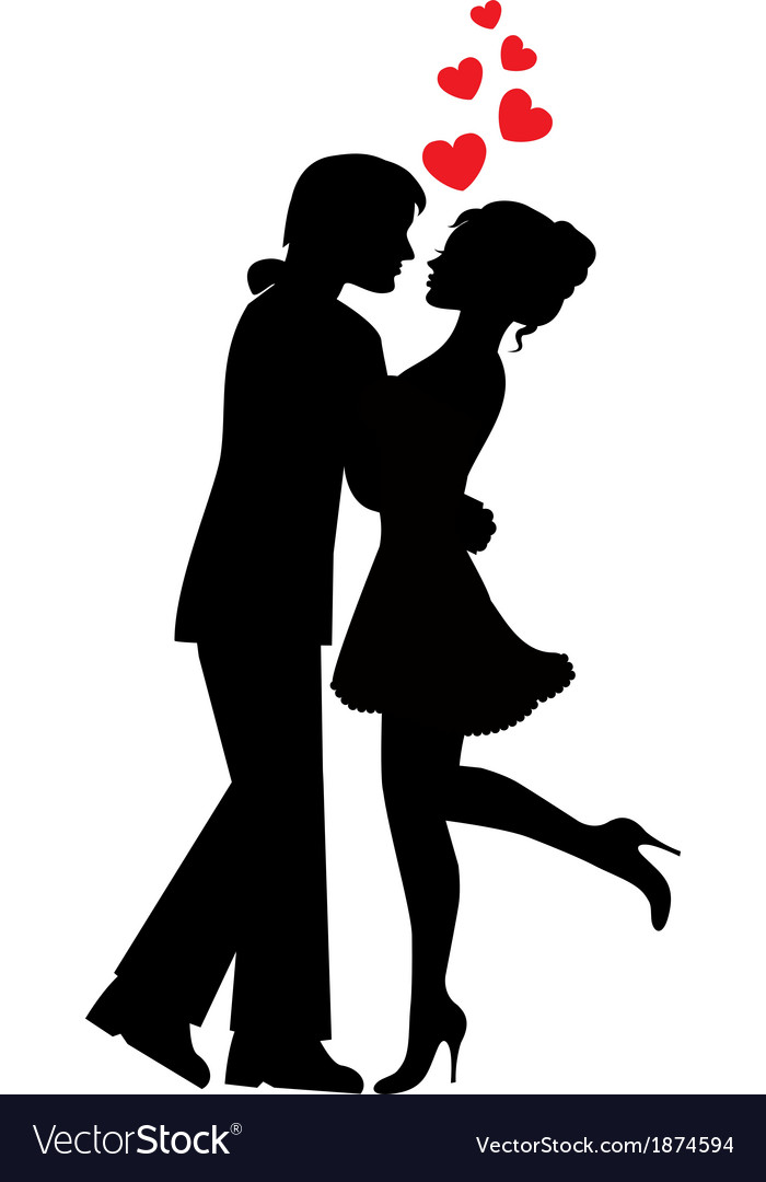 Download Silhouettes of couples in love Royalty Free Vector Image
