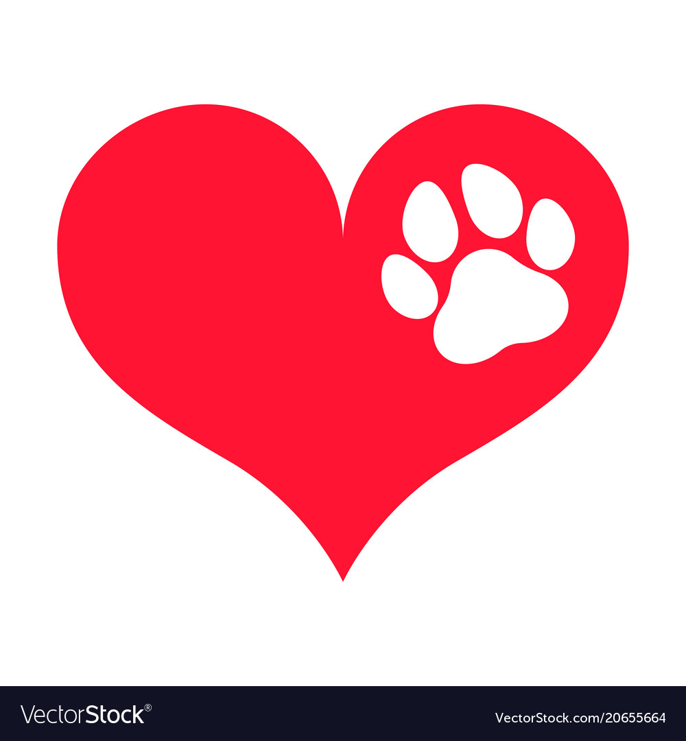 Download Red heart silhouette with a white paw print on it Vector Image