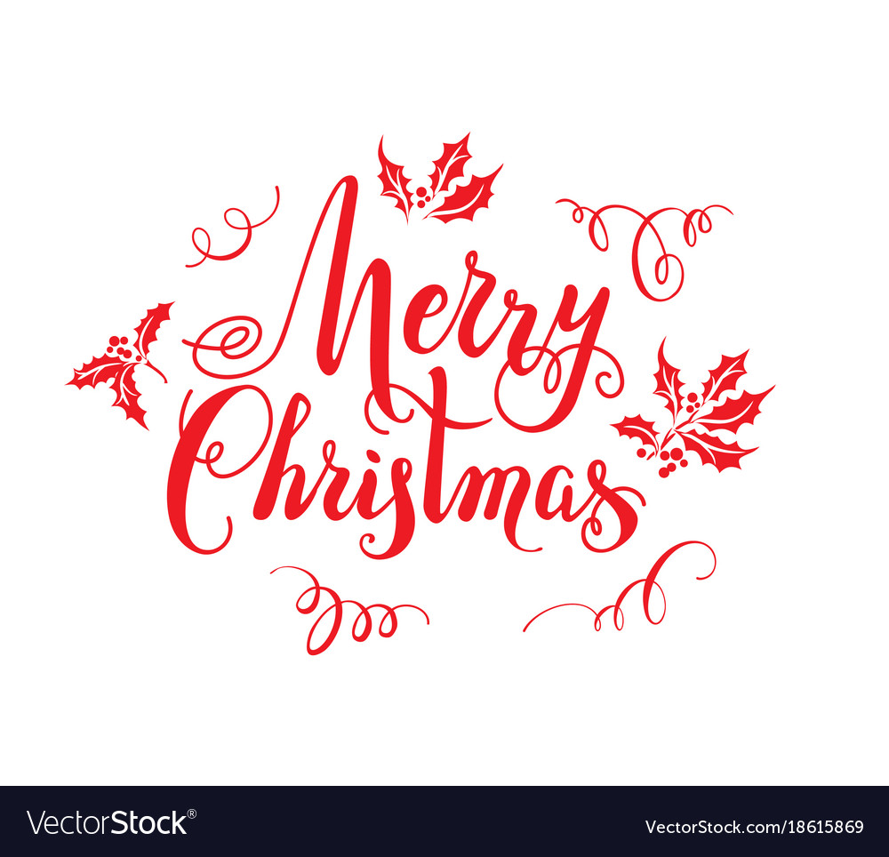 Red Merry Christmas Lettering Royalty Free Vector Image