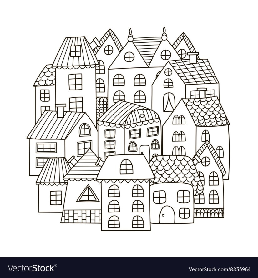 circle shape pattern with houses for coloring book
