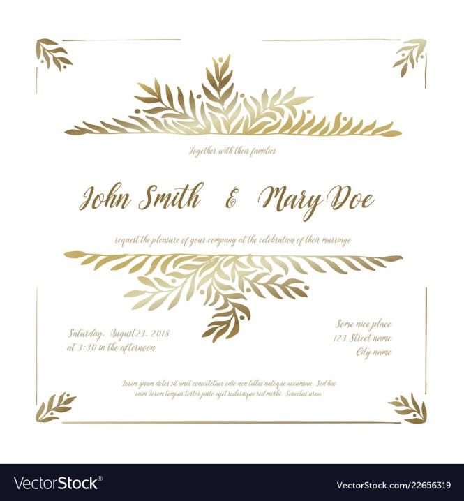 Golden Wedding Invitation Card Template