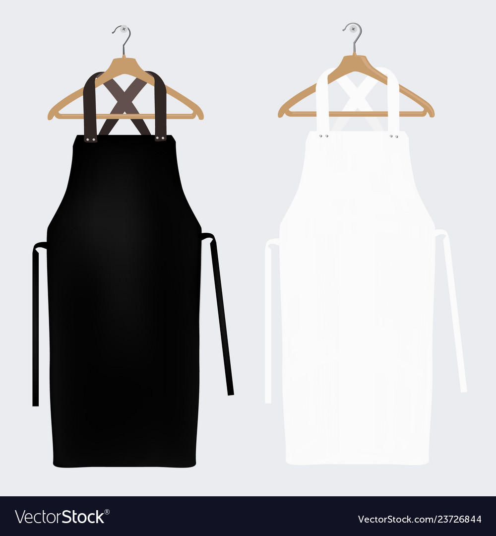 But despite the practical needs the aprons don't have to look dull. White And Black Aprons Apron Mockup Clean Apron Vector Image