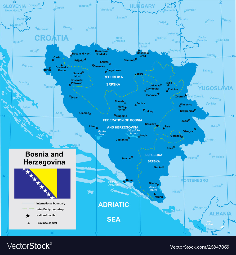 Map Bosnia And Herzegovina Royalty Free Vector Image