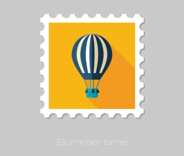 Hot Air Balloon Stamp Summer Vacation Vector Image