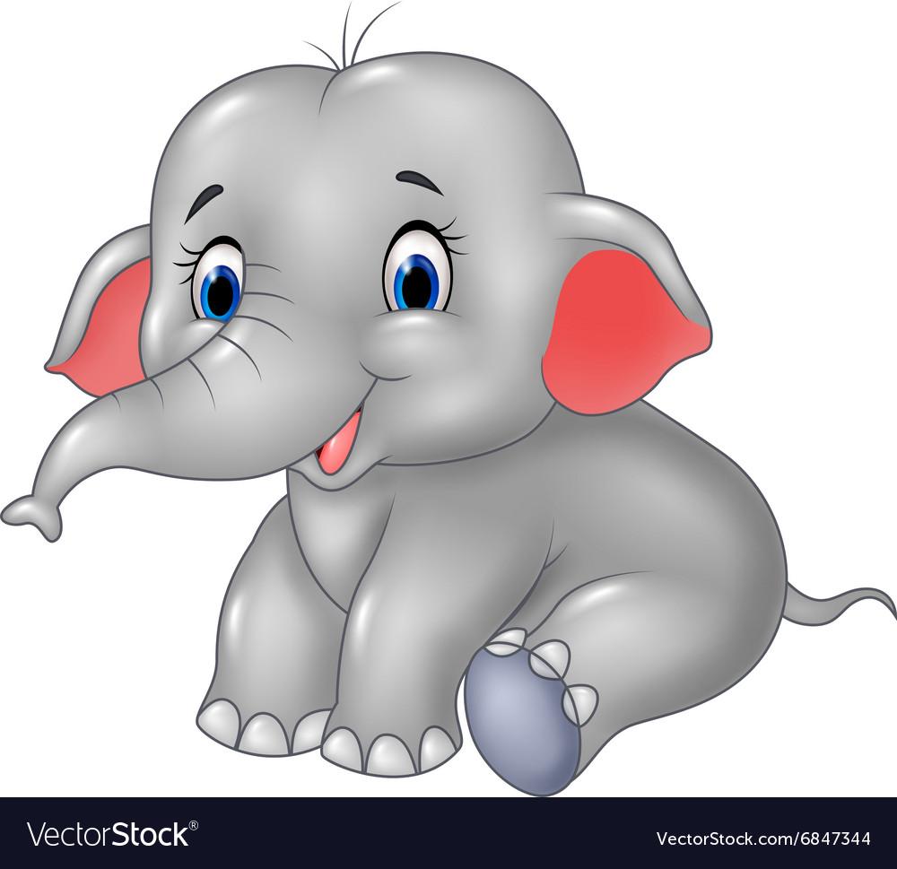Cartoon Baby Elephant Sitting Isolated Royalty Free Vector