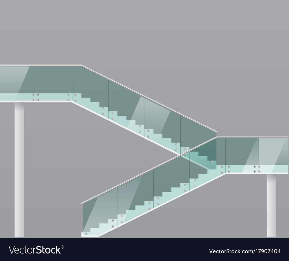Modern Staircase With Glass Railings Royalty Free Vector   Glass Handrails For Stairs   Balustrading   Custom Glass   External   Frameless   Fully Glass