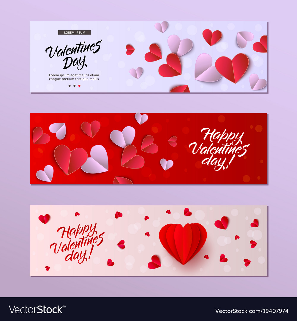 Happy Valentines Day Card Template Set Royalty Free Vector
