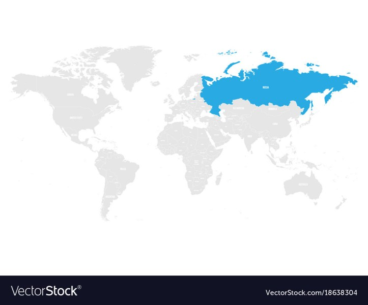 Russia marked by blue in grey world political map Vector Image