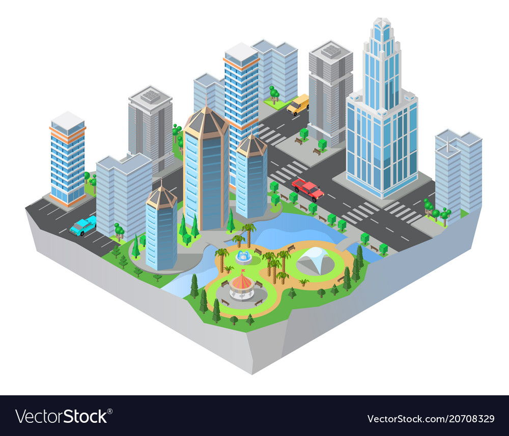 3d isometric city cityscape map of town royalty free vector