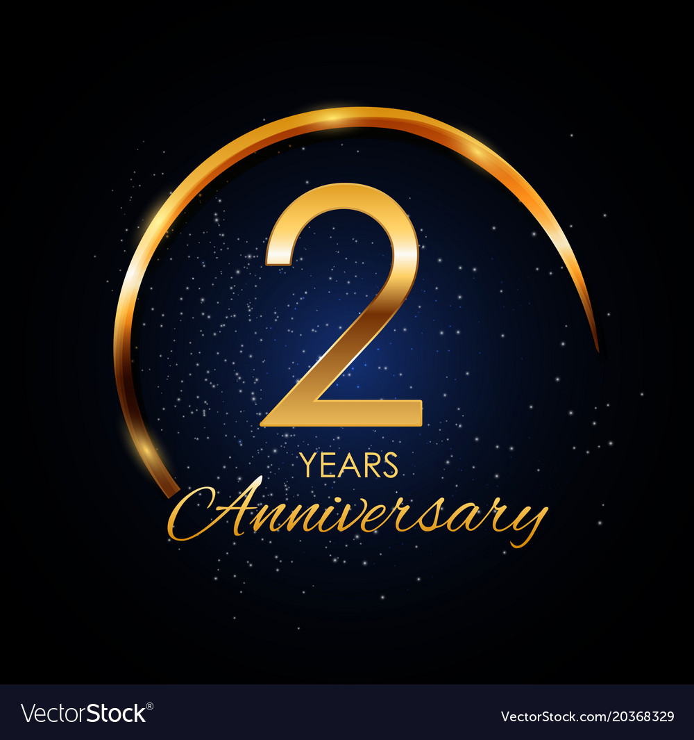 Template Logo 2 Year Anniversary Royalty Free Vector Image