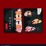 Sushi Set Menu For Restaurant Design Template Vector Image