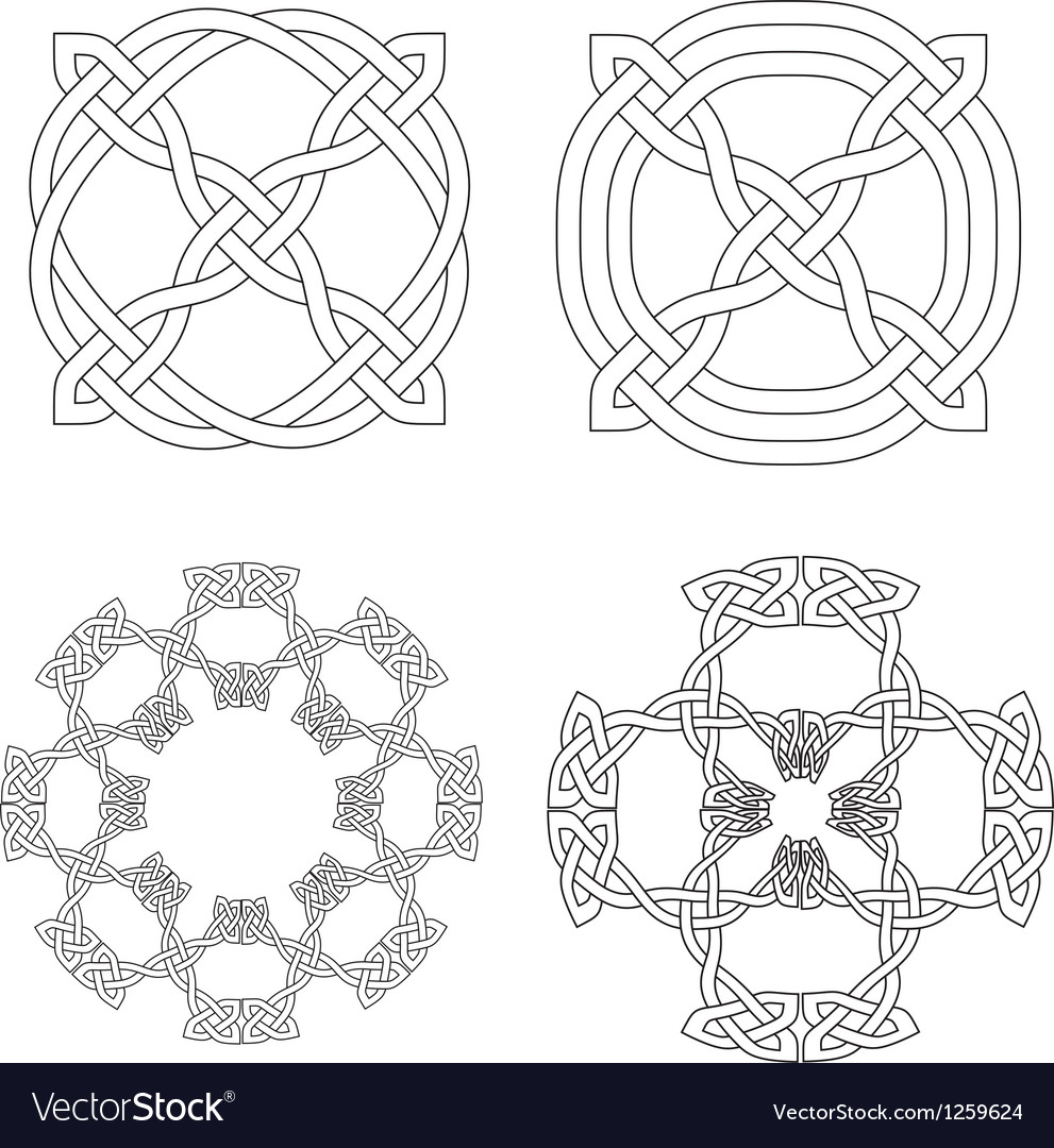 4 Celtic Knot Patterns Royalty Free Vector Image