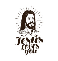Download Jesus loves you lettering calligraphy in shape Vector Image