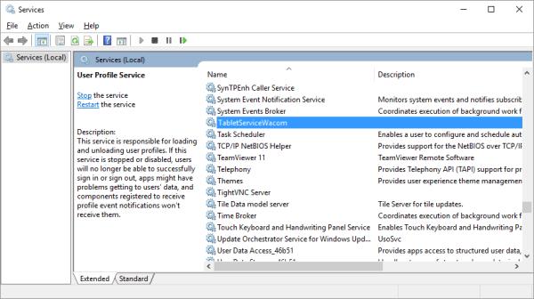 Wacom - Windows 10 - RUN - services.msc - TabletServiceWacom - Windows Wally