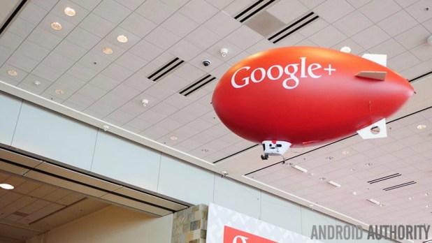 A small Google Plus-branded indoor air balloon.