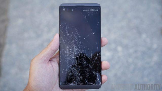 LG V20 drop test cracked display