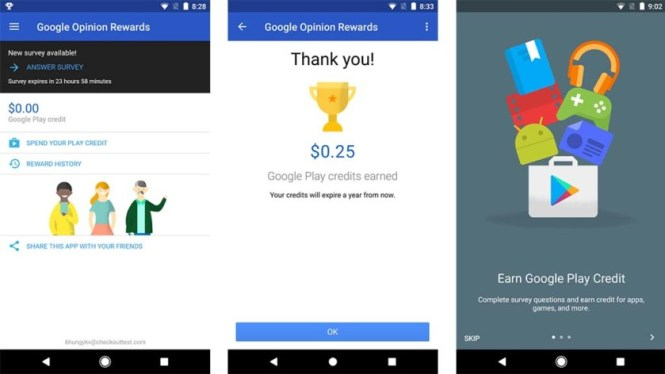A set of screenshots of the Google Opinion Rewards application taken in 2017.