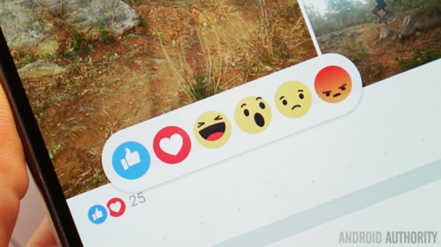 Facebook emojis on a smartphone screen