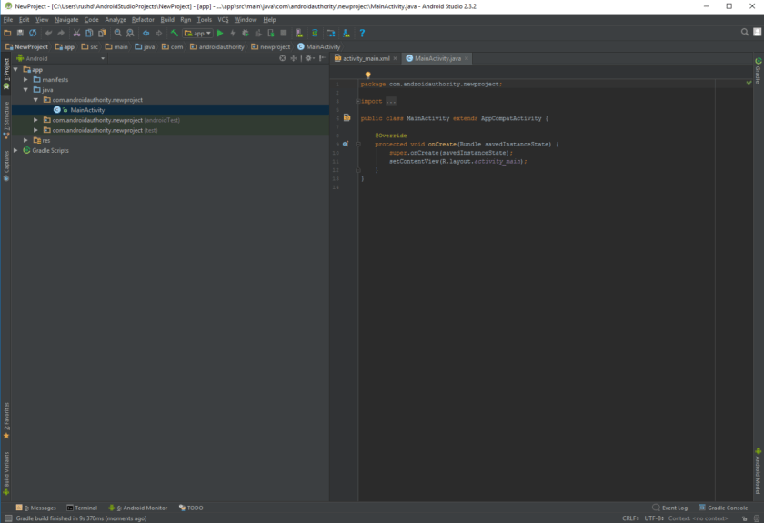 Новый файл Java