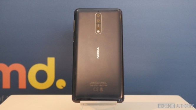 The rear of the Nokia 8 on a stand.