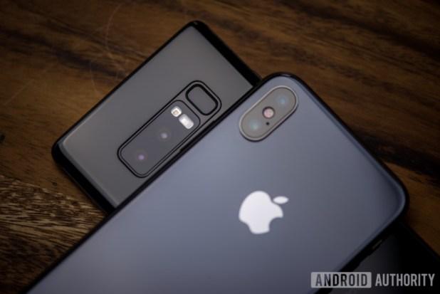samsung galaxy under an iphone