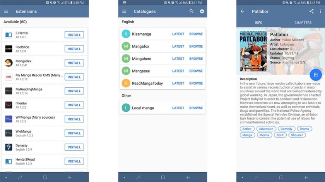Tachiyomi screenshot - best manga reader apps