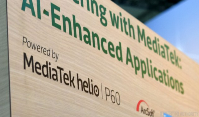 A MediaTek Helio P60 sign.