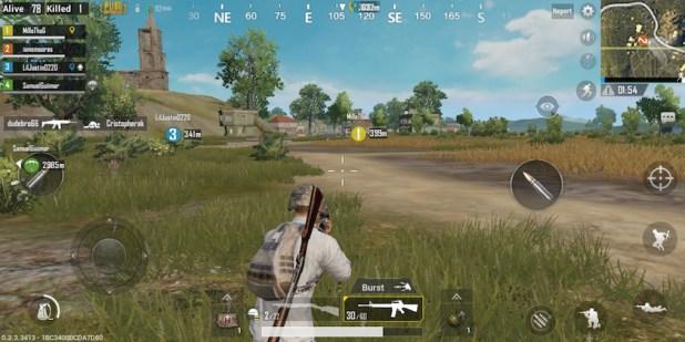 PUBG mobile gameplay hud