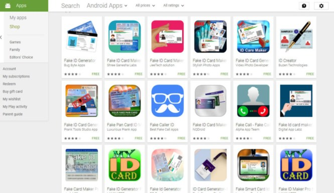 Fake ID apps on the Play Store.