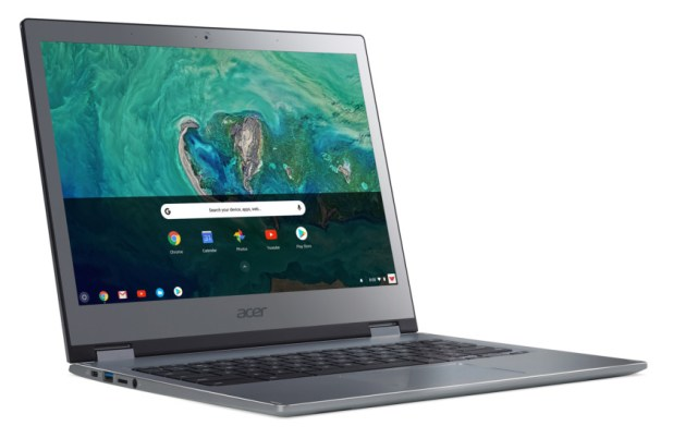 A rendered image of the Acer Chromebook 13 opened with the screen on.
