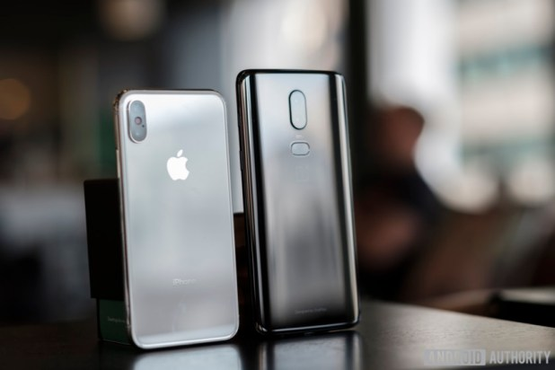 OnePlus 6 and Apple iPhone X - rear images