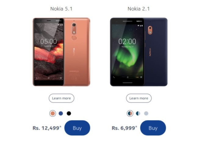 The Nokia 5.1 and Nokia 3.1 prices and device images from the official Nokia website.