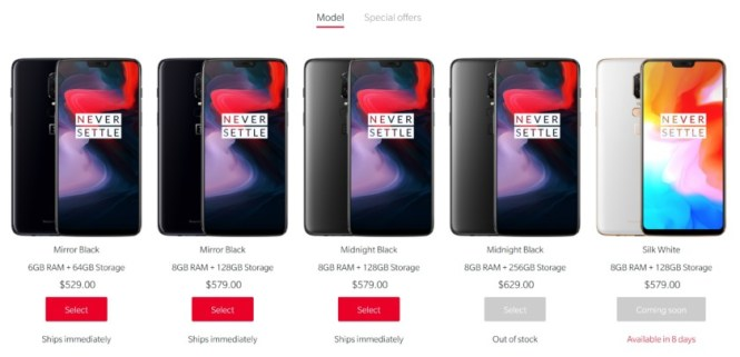 The OnePlus 6 smartphones and their storage amounts and prices from the official OnePlus website.