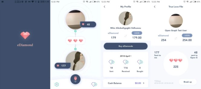 eDiamonds - screenshots of the app in progress