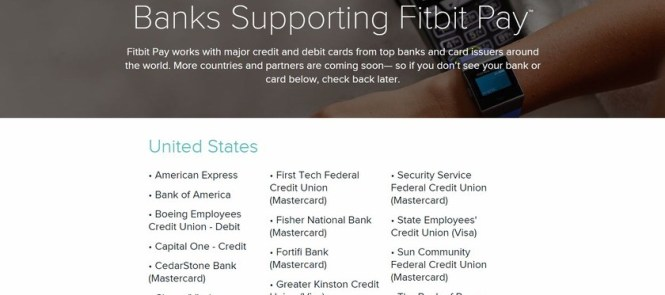 fitbit pay supported banks